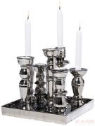 Candle Holder Multiple Chrome Small