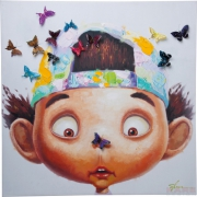 Picture Touched Boy with Butterflys 100x100