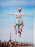 Picture Touched Bicycle Girl 120x160cm